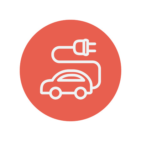 plugin: Electric car thin line icon for web and mobile minimalistic flat design. Vector white icon inside the red circle.