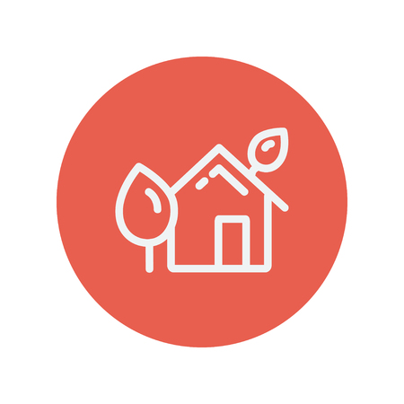 townhouses: House with leaves thin line icon for web and mobile minimalistic flat design. Vector white icon inside the red circle. Illustration