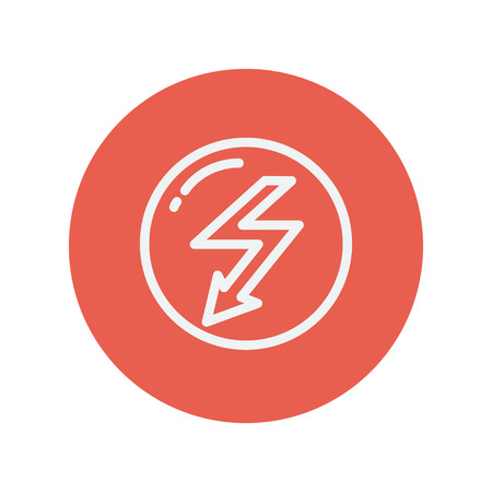 lightning arrow: Bubble with lightning arrow thin line icon for web and mobile minimalistic flat design. Vector white icon inside the red circle. Illustration