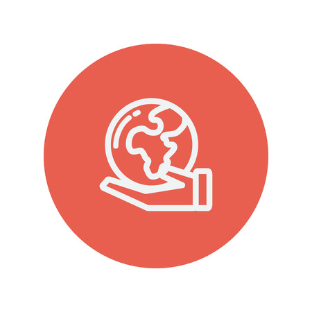 flat earth: Hand holding earth thin line icon for web and mobile minimalistic flat design. Vector white icon inside the red circle.