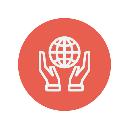 hands holding globe: Two hands holding globe thin line icon for web and mobile minimalistic flat design. Vector white icon inside the red circle. Illustration