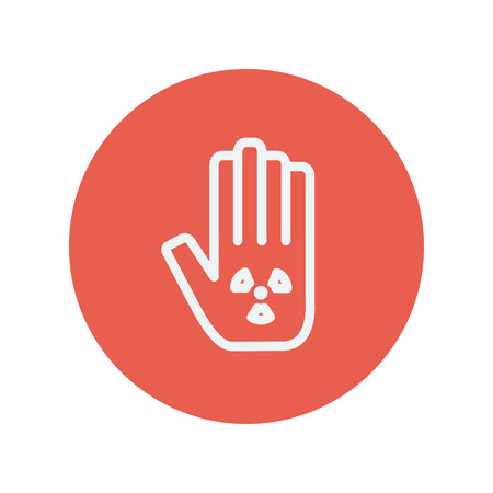 Hand and some object thin line icon for web and mobile minimalistic flat design. Vector white icon inside the red circle.