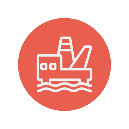 contaminant: Offshore oil station thin line icon for web and mobile minimalistic flat design. Vector white icon inside the red circle.