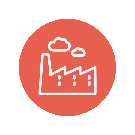 City background thin line icon for web and mobile minimalistic flat design. Vector white icon inside the red circle.