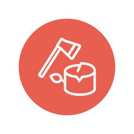 Ax e legno sottile riga di icone per il web e mobile design piatto minimalista. Vector bianco icona all'interno del cerchio rosso. Archivio Fotografico - 42340821