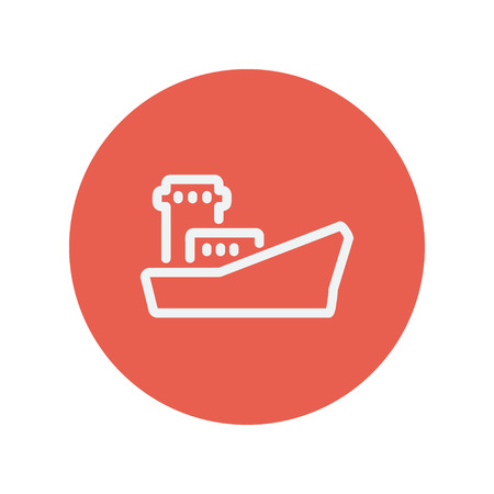 shipyard: Cargo container ship thin line icon for web and mobile minimalistic flat design. Vector white icon inside the red circle.
