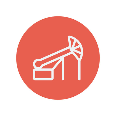 Pump jack oil crane thin line icon for web and mobile minimalistic flat design. Vector white icon inside the red circle.