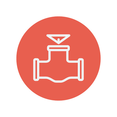 Oil pipe thin line icon for web and mobile minimalistic flat design. Vector white icon inside the red circle.