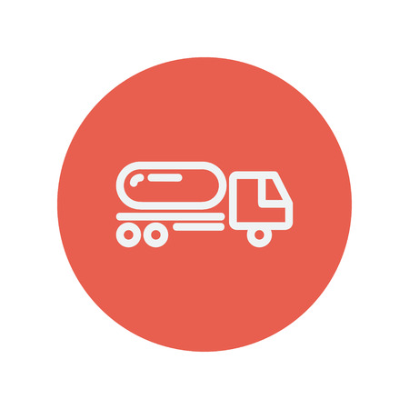 fuel truck: Fuel truck thin line icon for web and mobile minimalistic flat design. Vector white icon inside the red circle.