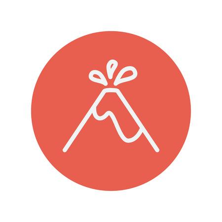 calamiteit: Vulkaan explodeert dunne lijn pictogram voor web en mobiele minimalistische platte design. Vector wit icoon in de rode cirkel.