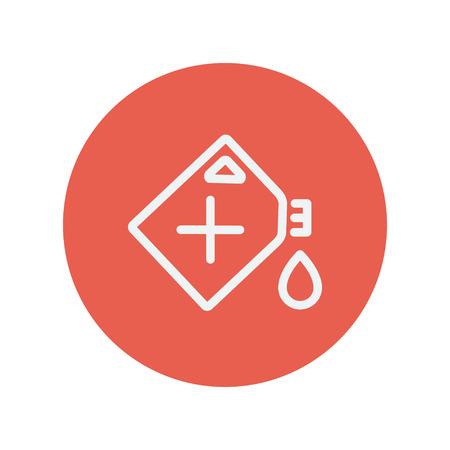 Web とモバイルのミニマルなフラット デザインのガス容器細い線アイコン。赤い丸の中の白いベクトルのアイコン。