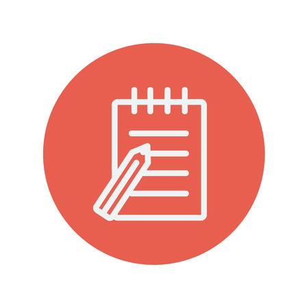 writing pad: Writing pad with pen thin line icon for web and mobile minimalistic flat design. Vector white icon inside the red circle.