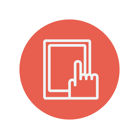 tagging: Tablet thin line icon for web and mobile minimalistic flat design. Vector white icon inside the red circle.