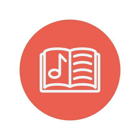 Musical book thin line icon for web and mobile minimalistic flat design. Vector white icon inside the red circle.