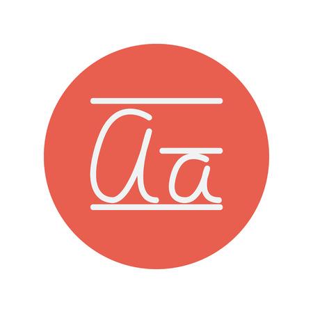 cursive: Cursive letter thin line icon for web and mobile minimalistic flat design. Vector white icon inside the red circle. Illustration