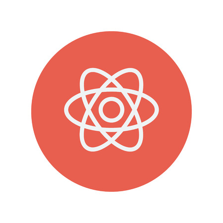 fission: Atom thin line icon for web and mobile minimalistic flat design. Vector white icon inside the red circle. Illustration