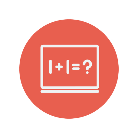 numbers icon: NUmbers on the blackboard thin line icon for web and mobile minimalistic flat design. Vector white icon inside the red circle.