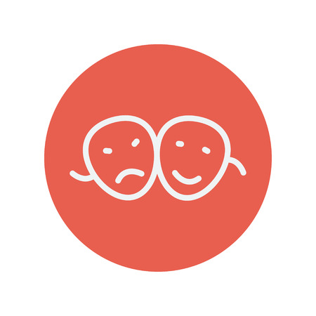 hair mask: Two masks thin line icon for web and mobile minimalistic flat design. Vector white icon inside the red circle.