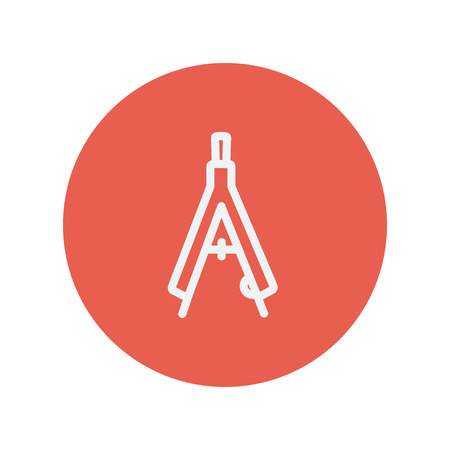 vernier: Compass with bold font thin line icon for web and mobile minimalistic flat design. Vector white icon inside the red circle.