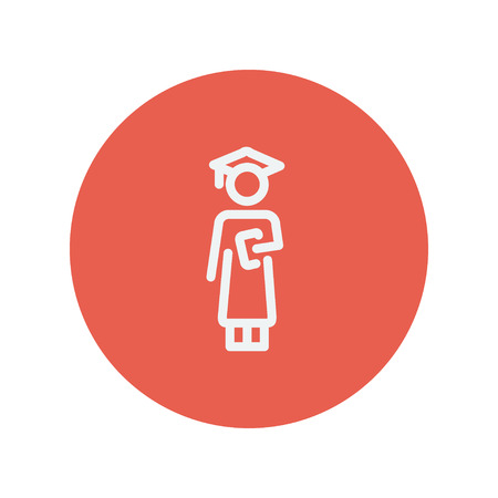 Graduation thin line icon for web and mobile minimalistic flat design. Vector white icon inside the red circle. 向量圖像