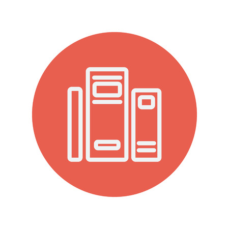 fresh graduate: Books thin line icon for web and mobile minimalistic flat design. Vector white icon inside the red circle.