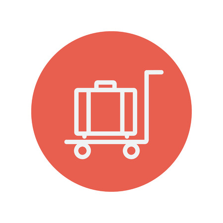 buyers: Trolley luggage thin line icon for web and mobile minimalistic flat design. Vector white icon inside the red circle.