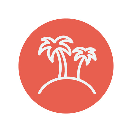 carribean: Two palm trees thin line icon for web and mobile minimalistic flat design. Vector white icon inside the red circle