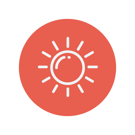 synopsis: Sun thin line icon for web and mobile minimalistic flat design. Vector white icon inside the red circle