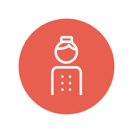 bellboy: Bellboy thin line icon for web and mobile minimalistic flat design. Vector white icon inside the red circle Illustration