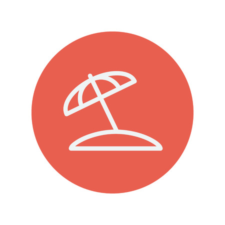 Beach umbrella thin line icon for web and mobile minimalistic flat design. Vector white icon inside the red circle