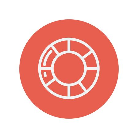 Life preserver thin line icon for web and mobile minimalistic flat design. Vector white icon inside the red circle