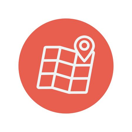urban planning: Folded map with pin thin line icon for web and mobile minimalistic flat design. Vector white icon inside the red circle