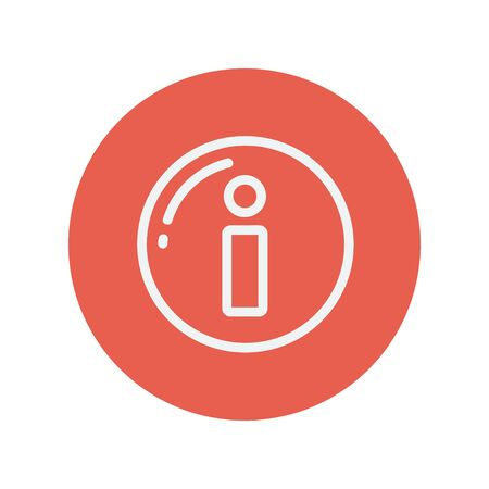 Information sign thin line icon for web and mobile minimalistic flat design. Vector white icon inside the red circle Vettoriali