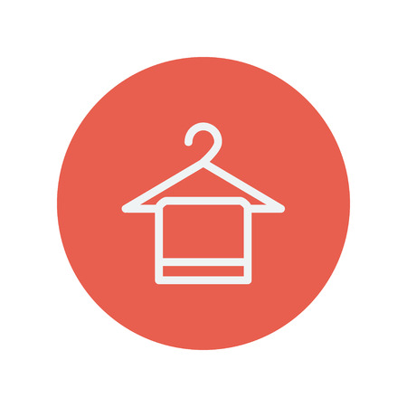 Towel on hanger thin line icon for web and mobile minimalistic flat design. Vector white icon inside the red circle Vettoriali