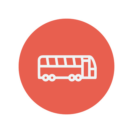 motor coach: Tourist bus thin line icon for web and mobile minimalistic flat design. Vector white icon inside the red circle.