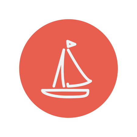 Sailboat thin line icon for web and mobile minimalistic flat design. Vector white icon inside the red circle. 版權商用圖片 - 42341121