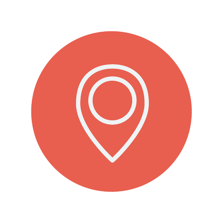 rout: Map pointer thin line icon for web and mobile minimalistic flat design. Vector white icon inside the red circle.