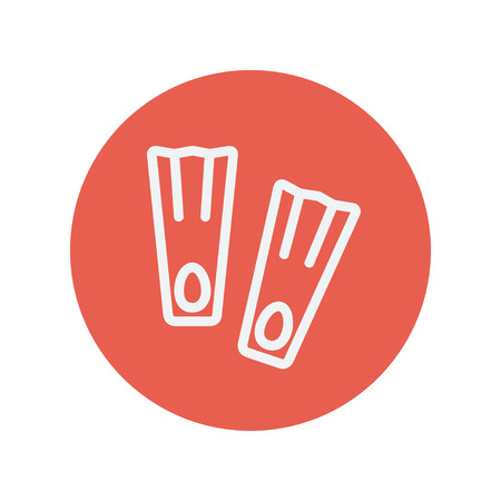 Swimming fippers thin line icon for web and mobile minimalistic flat design. Vector white icon inside the red circle.
