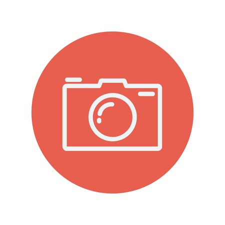 media gadget: Camera thin line icon for web and mobile minimalistic flat design. Vector white icon inside the red circle. Illustration