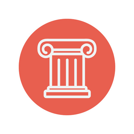 Ancient wall thin line icon for web and mobile minimalistic flat design. Vector white icon inside the red circle.