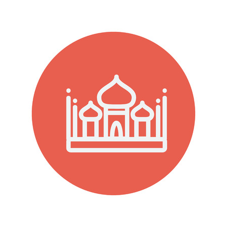 islamic pattern: Islamic mosque thin line icon for web and mobile minimalistic flat design. Vector white icon inside the red circle. Illustration