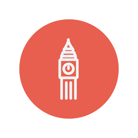 british culture: Big ben clock thin line icon for web and mobile minimalistic flat design. Vector white icon inside the red circle.