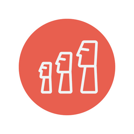 budha: Three wooden statue thin line icon for web and mobile minimalistic flat design. Vector white icon inside the red circle. Illustration