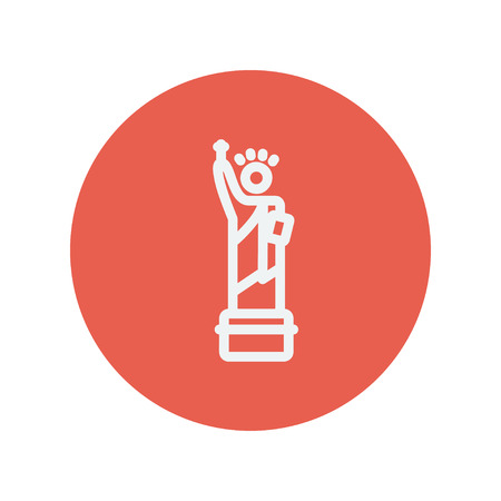 Statue of liberty thin line icon for web and mobile minimalistic flat design. Vector white icon inside the red circle. 矢量图像