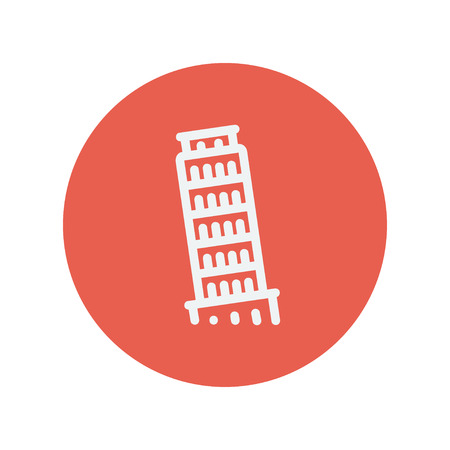 The leaning tower of pisa thin line icon for web and mobile minimalistic flat design. Vector white icon inside the red circle. Illustration