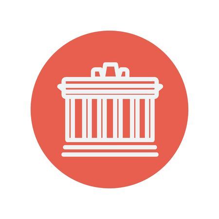 National library thin line icon for web and mobile minimalistic flat design. Vector white icon inside the red circle. 向量圖像