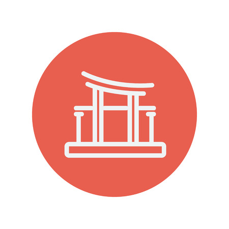 bigben: Famous gate thin line icon for web and mobile minimalistic flat design. Vector white icon inside the red circle.