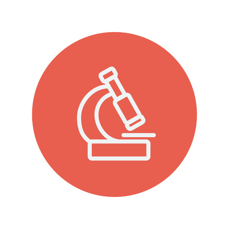 article icon: Microscope thin line icon for web and mobile minimalistic flat design. Vector white icon inside the red circle. Illustration