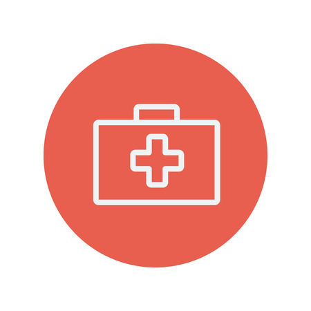 firstaid: First aid kit thin line icon for web and mobile minimalistic flat design. Vector white icon inside the red circle.