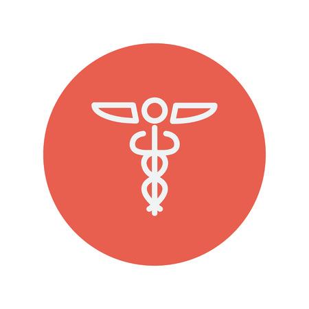 aesculapius: Símbolo médico icono de línea delgada para web y diseño plano móvil minimalista. Vector icono blanco dentro del círculo rojo.